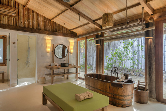 Enclosed Ground Floor Bathroom of The Newly Renovated Beachfront Pool Villas
