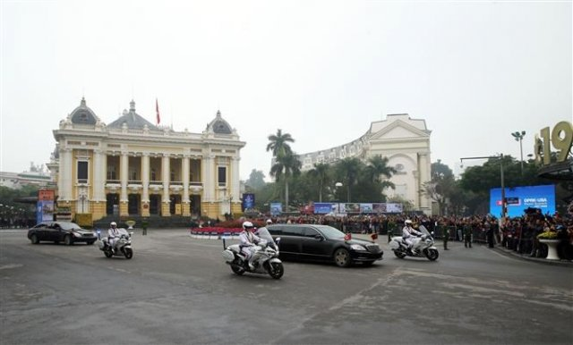 Mr. Kim Jong-un has arrived in Hanoi (Photo: VNA)