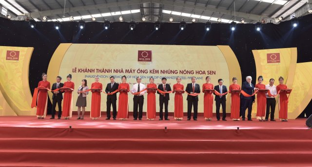 Inauguration ceremony of the hot-dip galvanized factory invested by the Hoa Sen Phu My Company Limited (Photo: Hoa Sen Group)